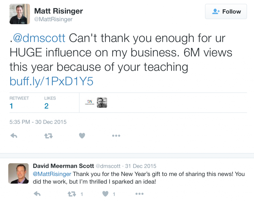 A Twitter Thank You to David Meerman Scott for teaching Matt Risinger about content marketing