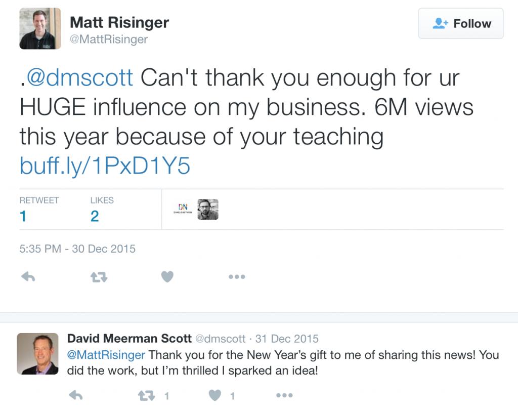A Twitter Thank You to David Meerman Scott for teaching Matt Risinger about content marketing