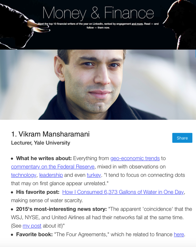 Top economic expert Vikram Mansharamani Top Voice in Money & Finance for 2015